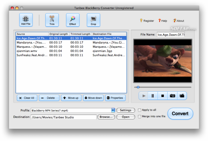 Tanbee BlackBerry Video Converter for Mac Screenshot