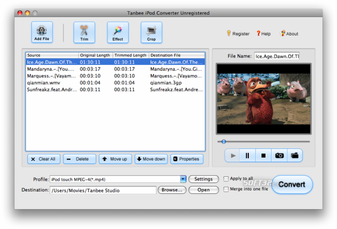 Tanbee iPod Video Converter for Mac Screenshot