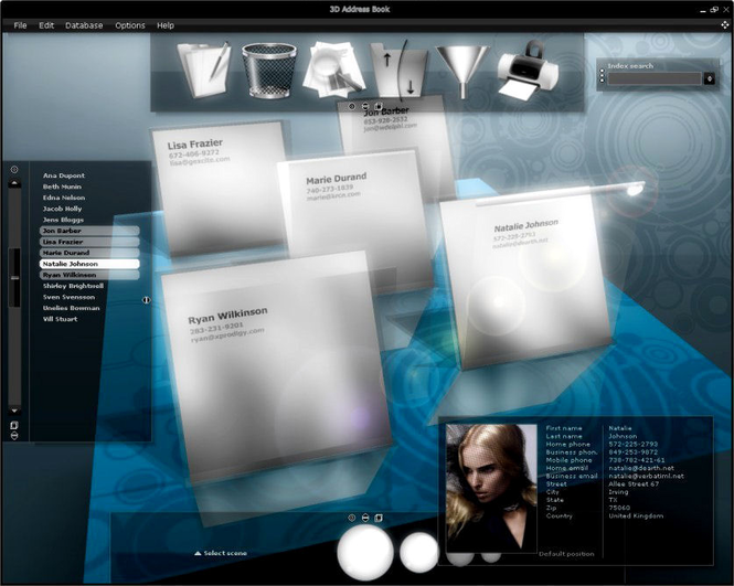 3D AddressBook Screenshot