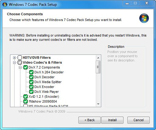 Windows 7 Codec Pack Screenshot 1