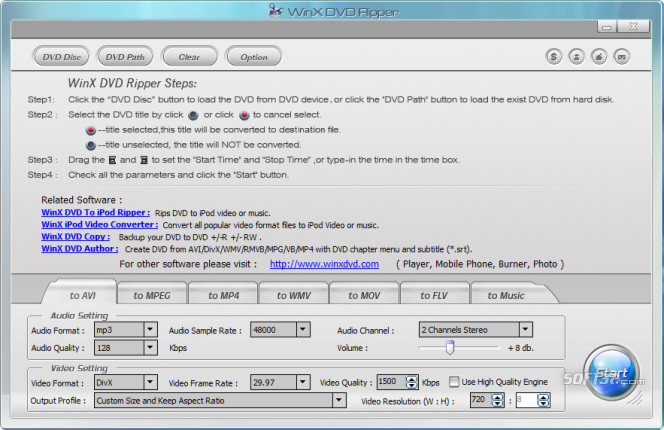 WinX Free DVD Ripper Screenshot 2