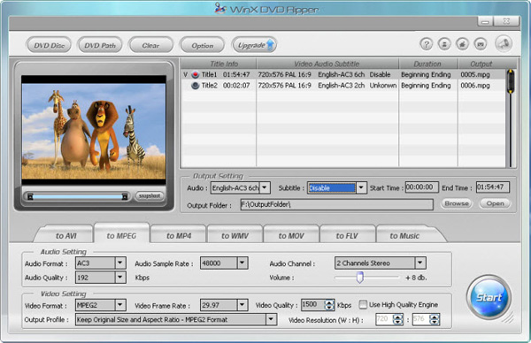 WinX Free DVD Ripper Screenshot 1