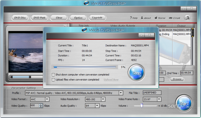WinX Free DVD to PSP Ripper Screenshot 2