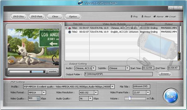 WinX Free DVD to PSP Ripper Screenshot 5