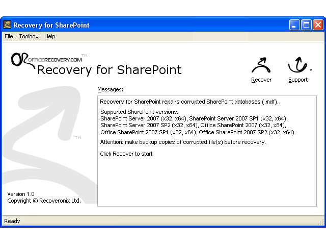 Recovery for SharePoint Screenshot