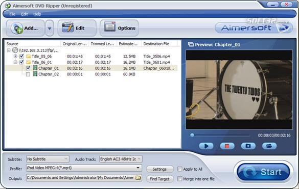 Aimersoft DVD Ripper Screenshot 3