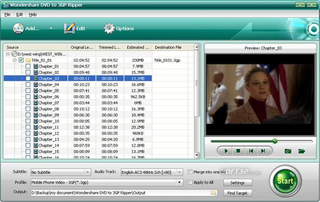 Wondershare DVD to 3GP Ripper Screenshot 1