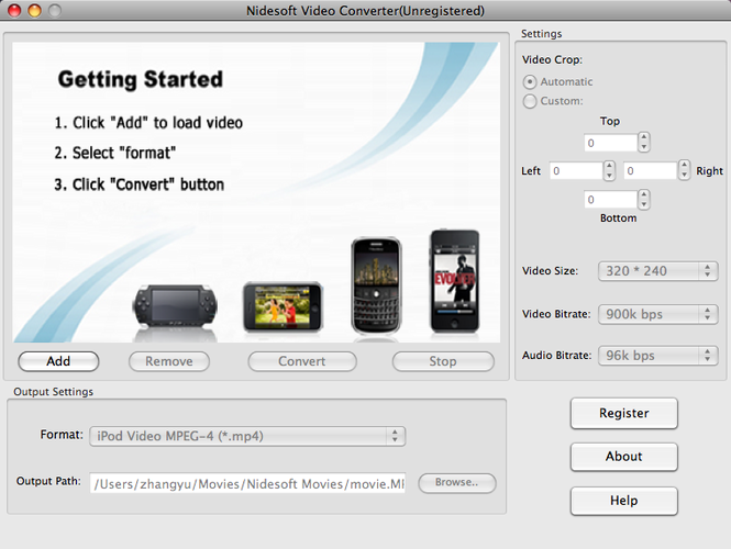 Nidesoft Video Converter for Mac Screenshot