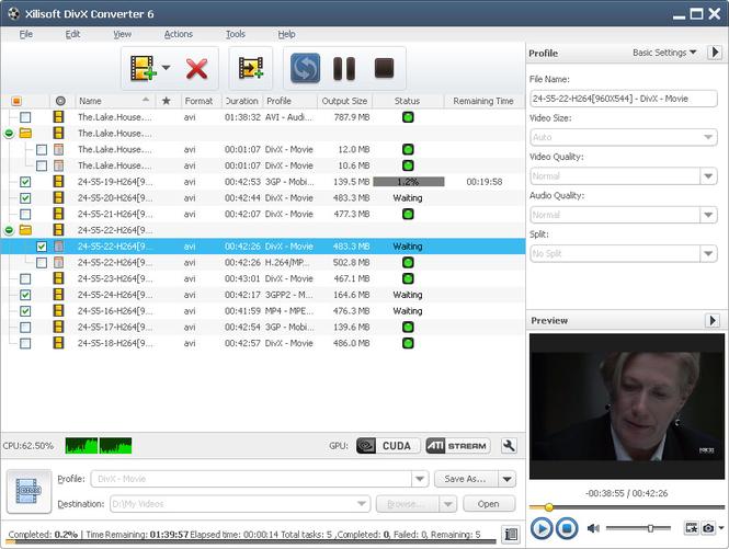 Xilisoft DivX Converter Screenshot