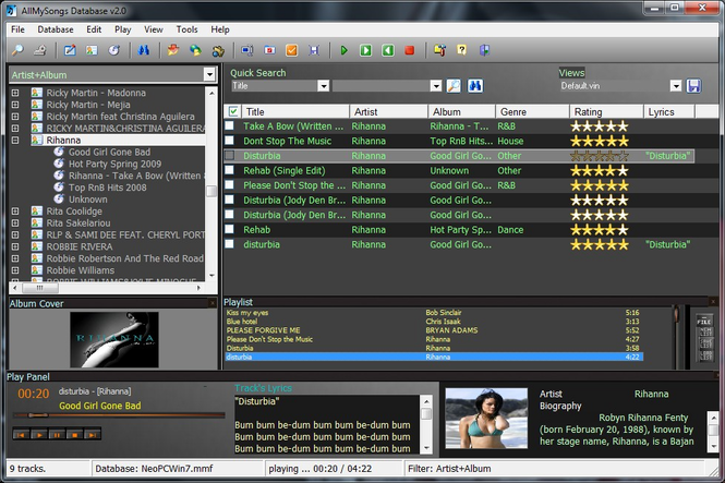 AllMySongs Database Screenshot