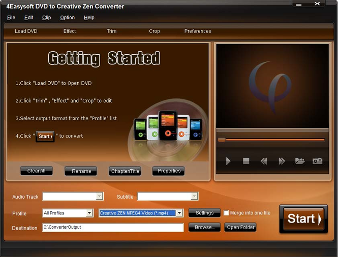 4Easysoft DVD to Creative Zen Converter Screenshot 1