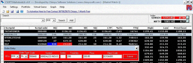 Free BSE Marketwatch Screenshot