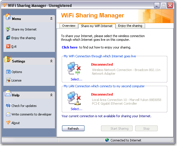 WiFi Sharing Manager Screenshot