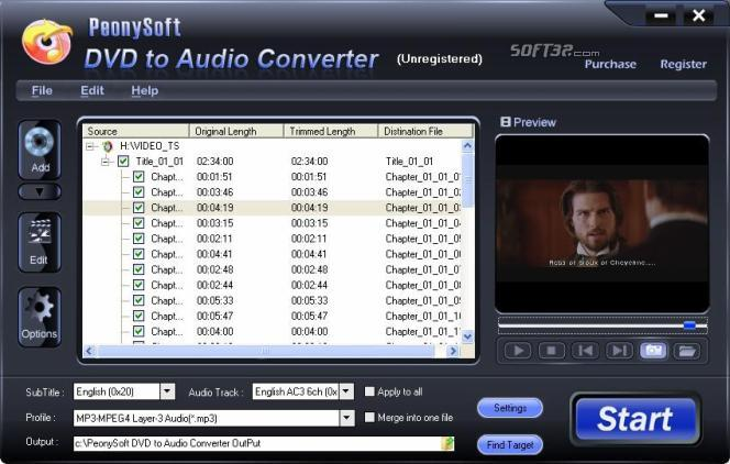 PeonySoft DVD Audio Ripper Screenshot 3