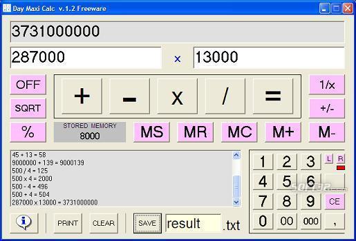 Day Maxi Calc Screenshot 2