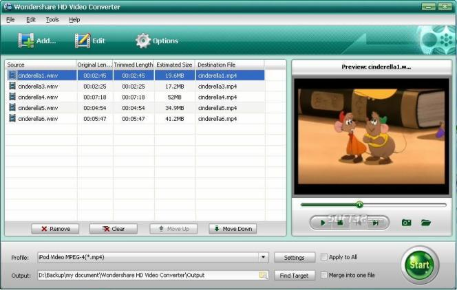 Wondershare HD Video Converter Screenshot