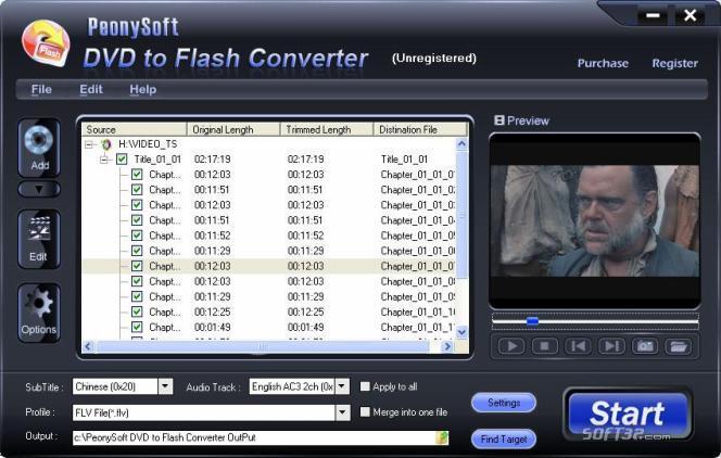 PeonySoft DVD to Flash Converter Screenshot 2