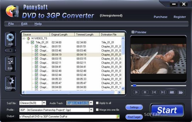 PeonySoft DVD to 3GP Converter Screenshot 2