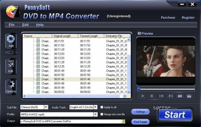 PeonySoft DVD to MP4 Converter Screenshot 2