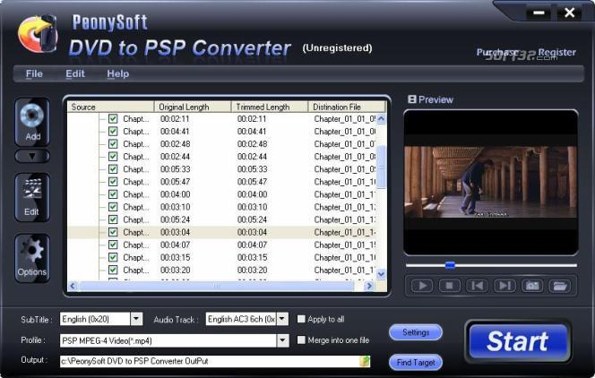 PeonySoft DVD to PSP Converter Screenshot 2