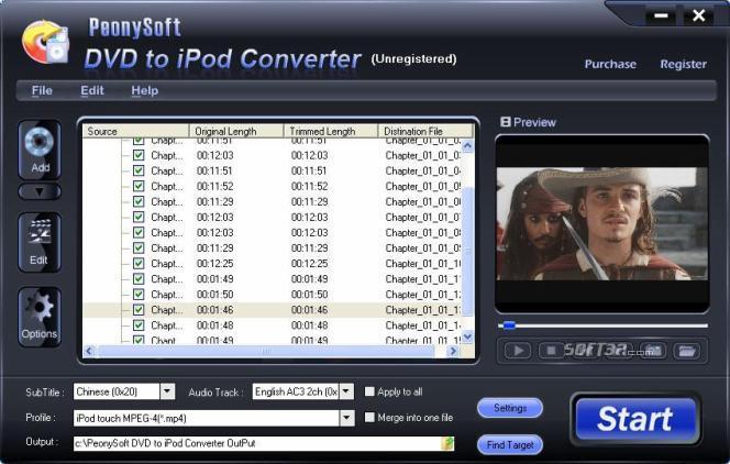 PeonySoft DVD to iPod Converter Screenshot 2