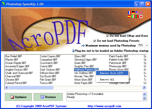 Photoshop SpeedUp Screenshot