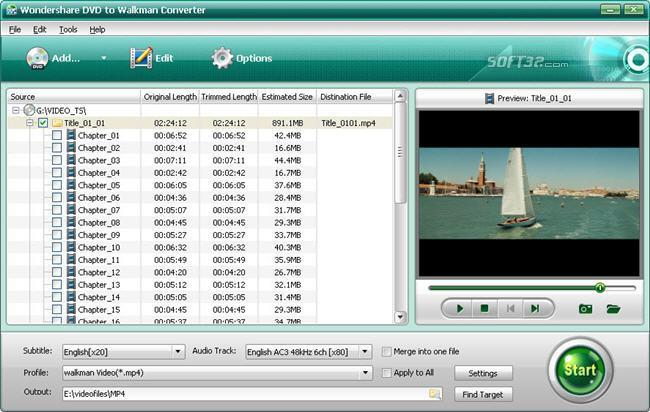 Wondershare DVD to Walkman Converter Screenshot 1