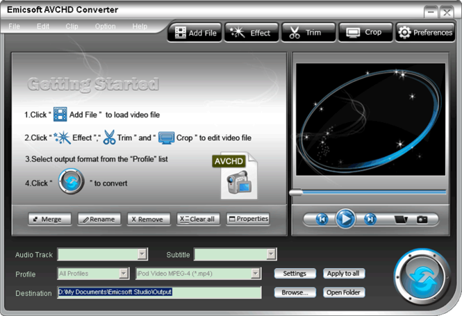 Emicsoft AVCHD Converter Screenshot