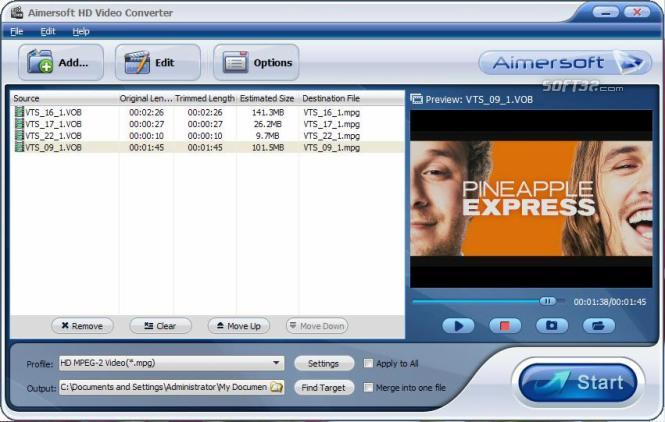 Aimersoft HD Video Converter Screenshot
