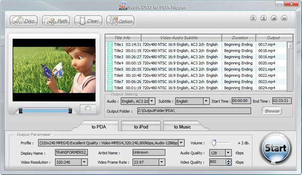 WinX DVD to PDA Ripper Screenshot
