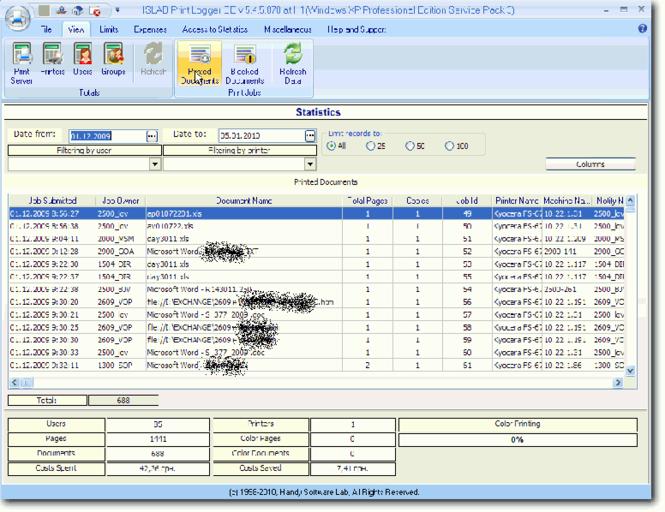HSLAB Print Logger STE Screenshot