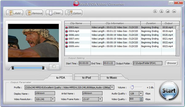 WinX PDA Video Converter Screenshot