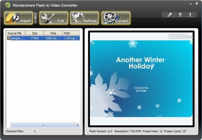 Wondershare Flash to Video Converter Screenshot