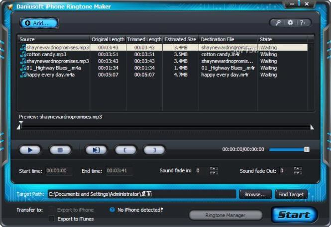 Daniusoft iPhone Ringtone Maker Screenshot