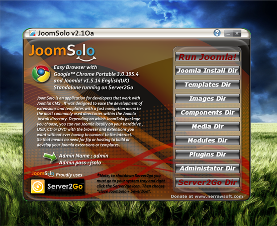JoomSolo Joomla Standalone Server Screenshot 1