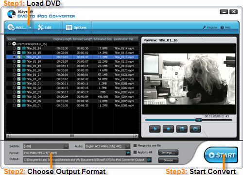 iSkysoft DVD to iPod Converter Screenshot 1