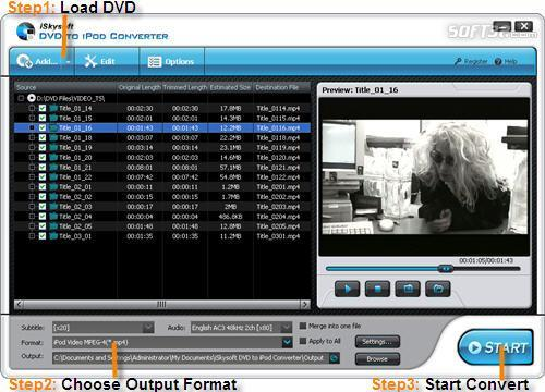 iSkysoft DVD to iPod Converter Screenshot 2