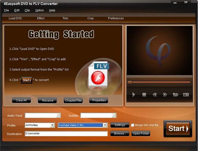 4Easysoft DVD to FLV Converter Screenshot
