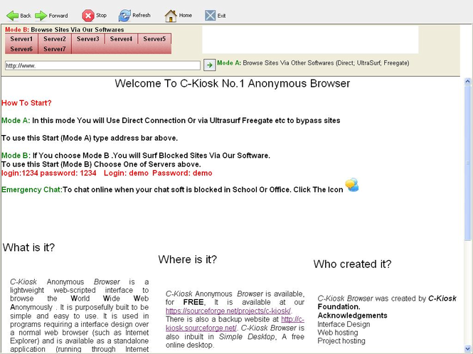 C-Kiosk #1 Anonymous Browser Screenshot
