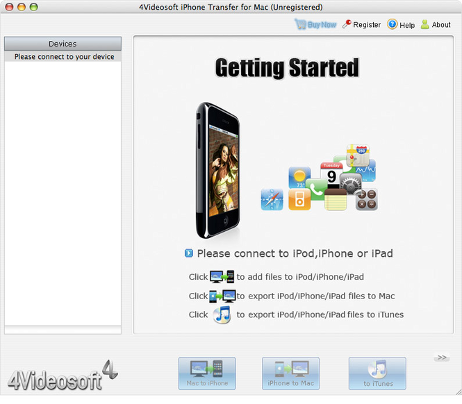 4Videosoft iPhone Transfer for Mac Screenshot