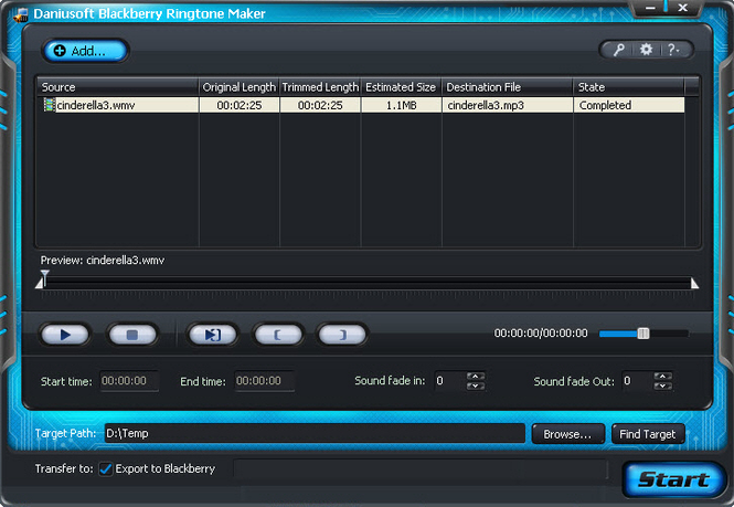 Daniusoft Blackberry Ringtone Maker Screenshot