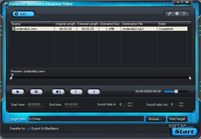 Daniusoft Blackberry Ringtone Maker Screenshot 3