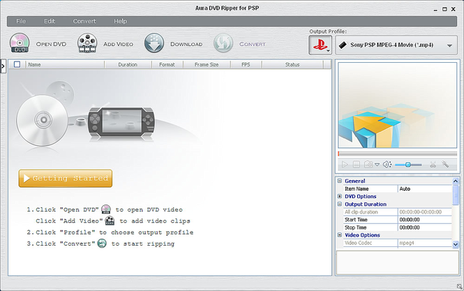 Aura DVD Ripper for PSP Screenshot