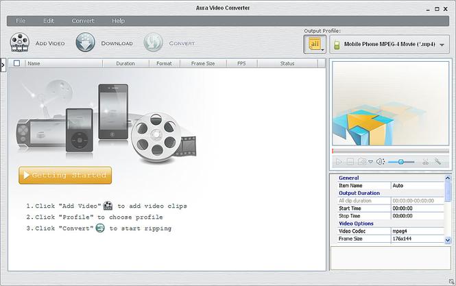 Aura Free Video Converter Screenshot 1
