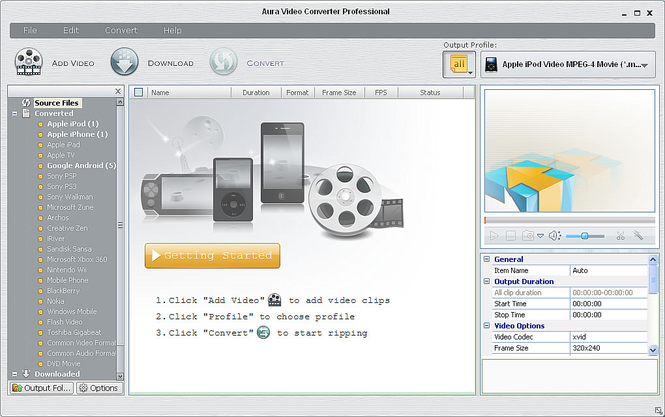 Aura Video Converter Screenshot