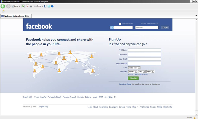 SecureFacebookTwitterNavigator Screenshot