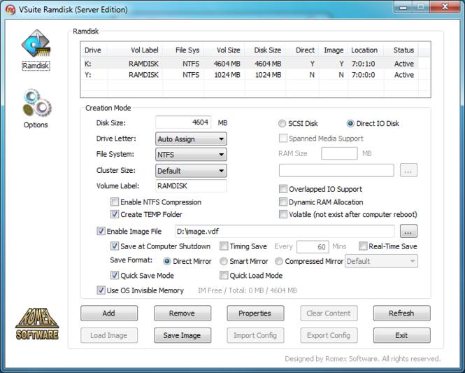 VSuite Ramdisk (Standard Edition) Screenshot