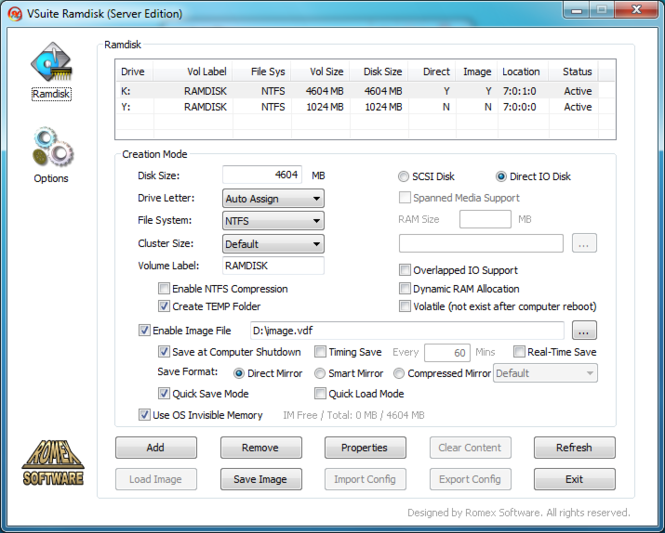 VSuite Ramdisk (Free Edition) Screenshot