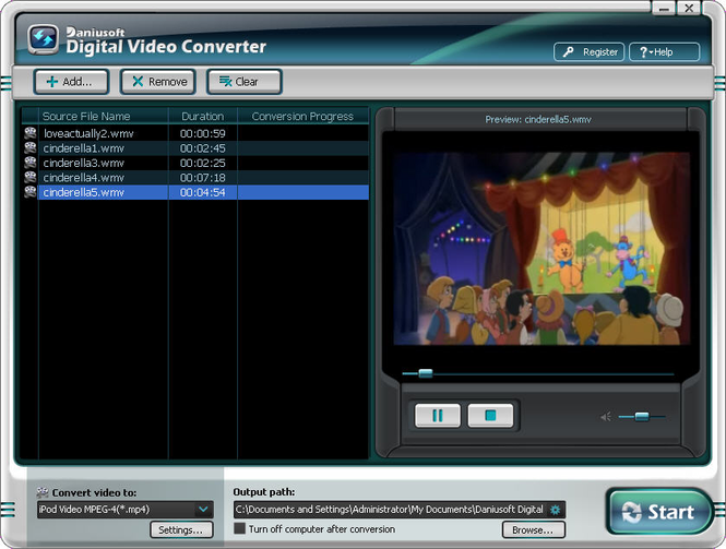 Daniusoft Digital Video Converter Screenshot 1