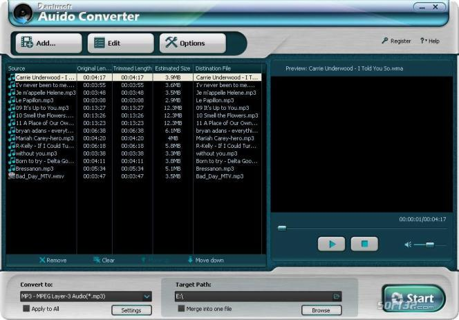 Daniusoft Audio Converter Screenshot